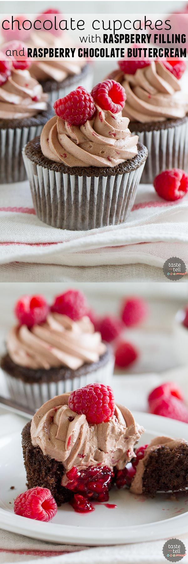 The perfect marriage of chocolate and raspberry - chocolate cupcakes are filled with a fresh raspberry filling, then topped with a silky smooth raspberry chocolate Swiss Meringue Buttercream.
