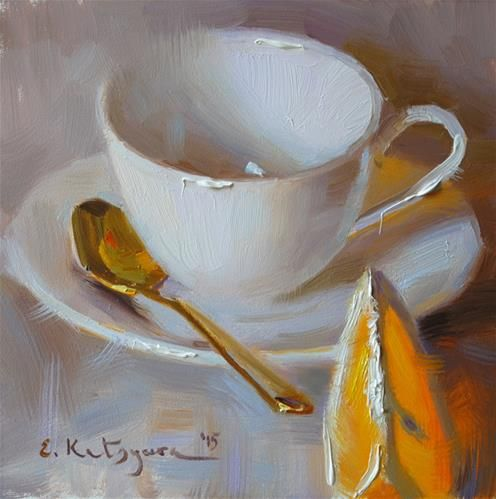 "Daily Paintworks - ""White Cup and Orange"" - Original Fine Art for Sale - © Elena Katsyura"