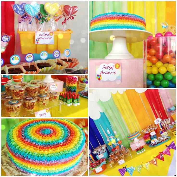 Rainbow party!!! Sofía 1 year! Love the magic of the rainbow colors...❤ Fiesta arcoiris de Sofía, 1 año! Amo la magia de loa colores del arcoiris, siempre se ven hermosos!