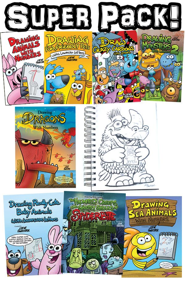 Super Pack! 8 How to draw books and a Sketchbook