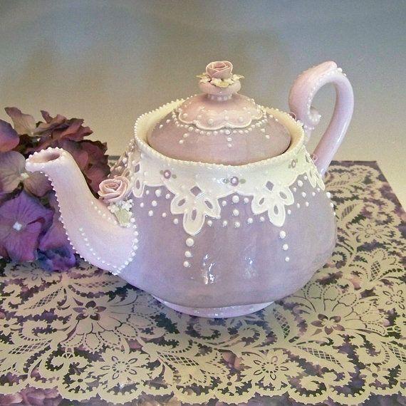 cutest little Lavender & Lace Teapot by 5