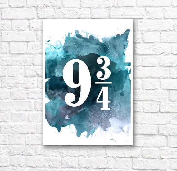 Harry Potter Print - Platform 9 and 3/4 Watercolor Wall Art Poster    This minimalist watercolor poster is printed using high quality archival inks