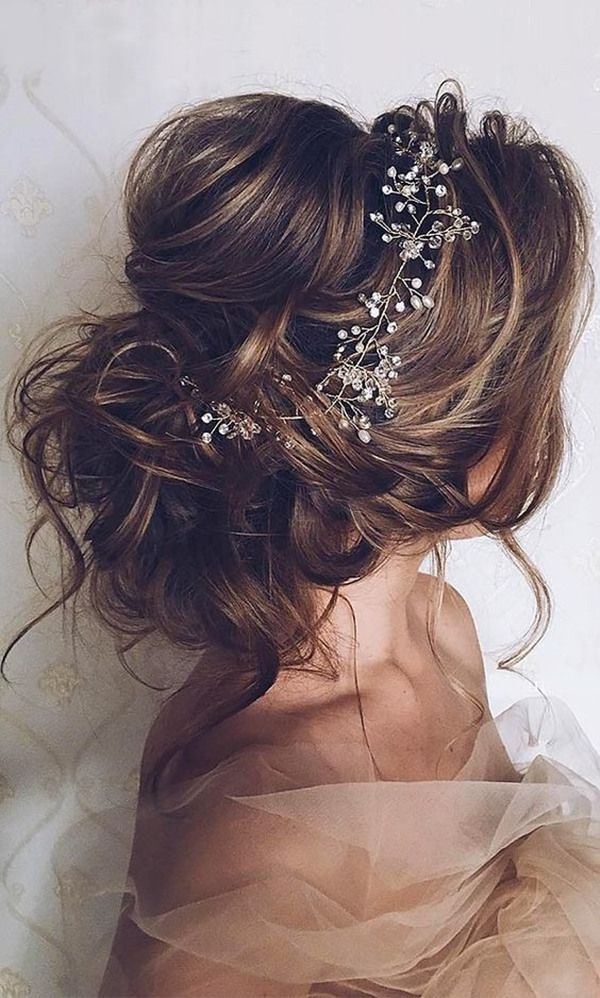 romantic updo wedding hairstyles for long hair with headpieces