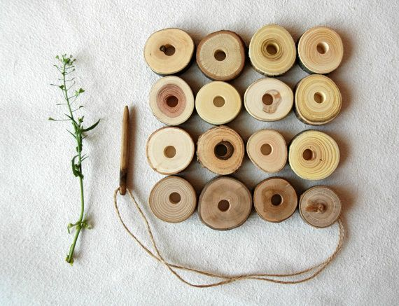 Wooden toy lacing / wood lacing set by MamumaBird