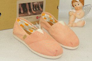 Toms Classics Women Orange Stripe Comfortable