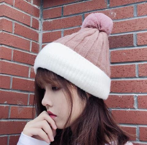 159901a67aa Pink and white bobble hat for teenage girls knit beanie hats with ball on  top
