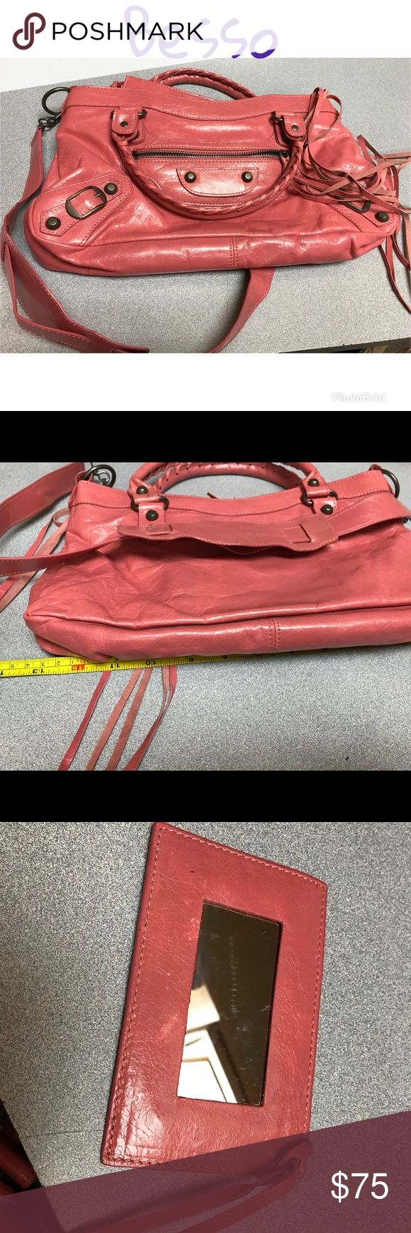 "Besso Beautiful pink Italian leather purse GUC! Beautiful buttery soft Italian leather, boutique purse! Besso specializes in making Balenciaga Motorcycle bag ""knock offs"". Great condition, cute little mirror on a leather strap and pockets! No stains. Bags Shoulder Bags"