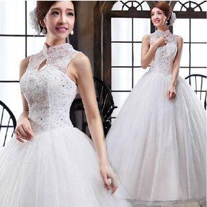 ウェディングドレス 結婚式 披露宴 二次会 パーティードレス ウエディングドレス プリンセスドレス ハイネック ベルライン 花嫁 二次会 ドレス「atwd004」
