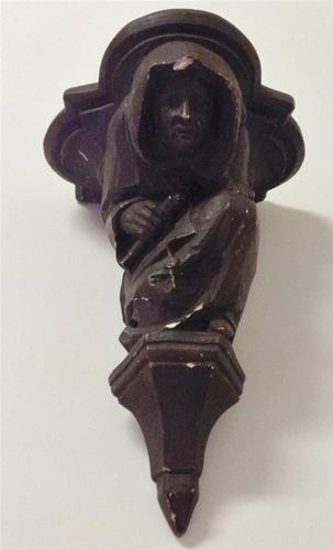 Vintage Medieval Monk Chalk Ware Metal Corbel Architectural Shelf Bracket | eBay walker likes this
