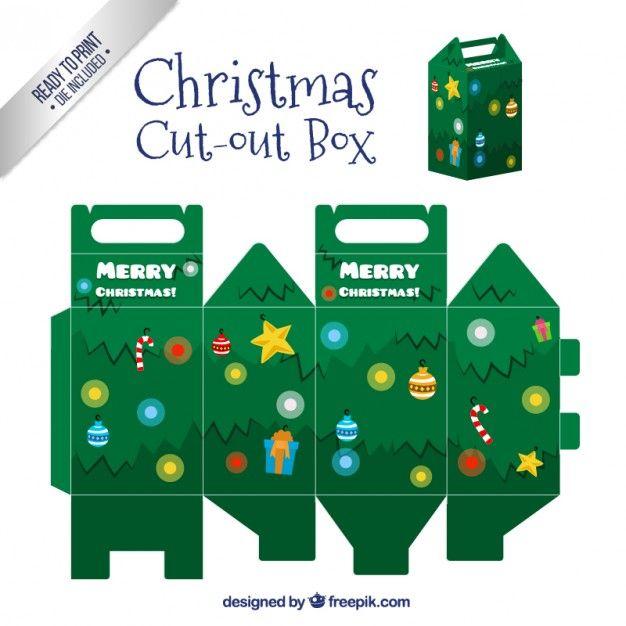 Caja de árbol de navidad Vector Gratis                                                                                                                                                                                 Más