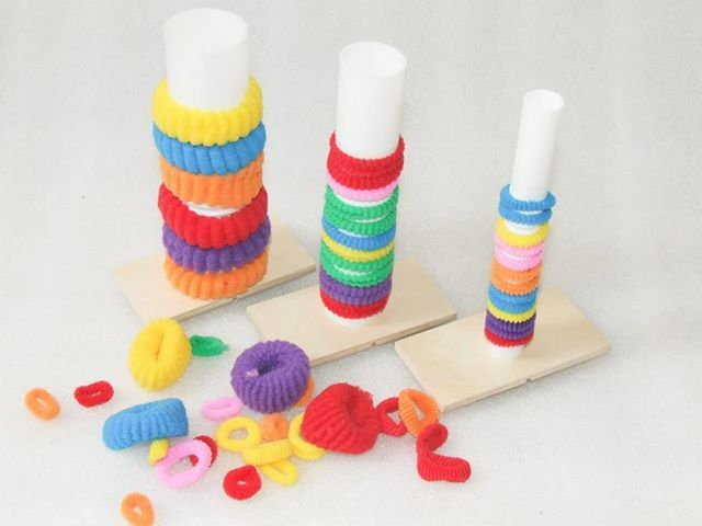 This activity can be used to learn colors, pattern, count, add and for fine motor practice.