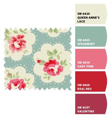 Paint colors from Chip It! by Sherwin-Williams Cath Kidston fabric |Pinned from PinTo for iPad|