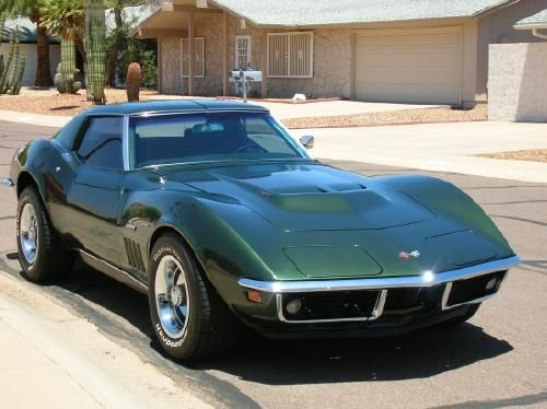 """1969, Chevy Corvette Stingray  427/435 h.p. big block, solid lifter engine, tri-power carburetor system Documentation proving """"original matching numbers"""" – engine, manifolds & running gear of """"original"""" 1969 vette Fathom green (1969 color – one quality repaint with matching color code in 1992) - See more at: http://www.cacars.com/1002601.html#sthash.Z4e3o4d9.dpuf"""