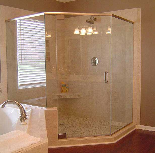 Frameless Glass Neo Angled Corner Shower Next To A Bathtub From Http Www G