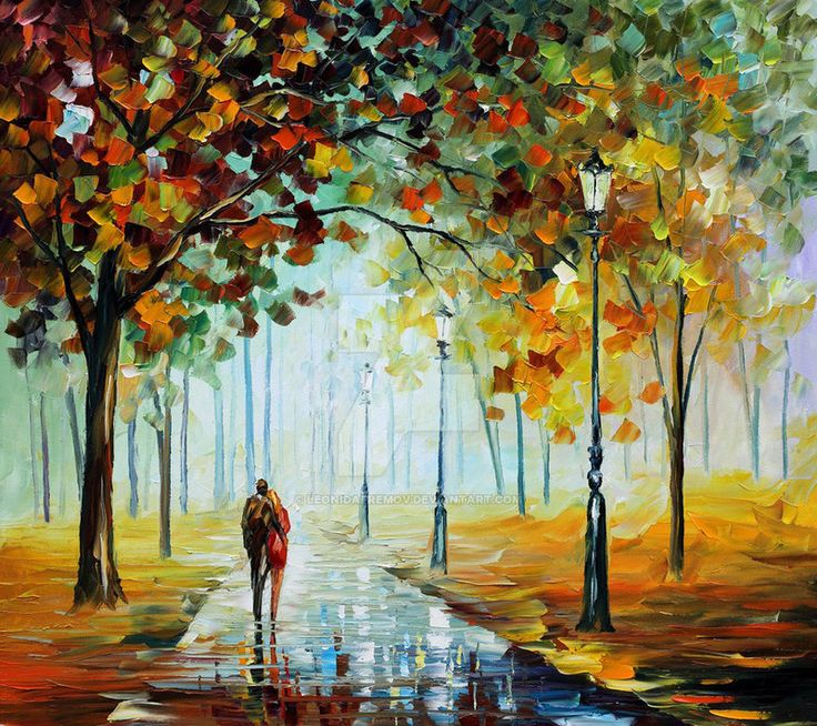 Fall Love by Leonid Afremov by Leonidafremov.deviantart.com on @DeviantArt