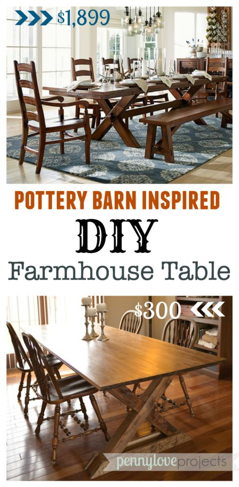 DIY Farmhouse Table inspired by Pottery Barn #potterybarn #dining #table We had been looking for a good sized table for their new dining table, and after coming up short in their search for one in their price range, style, and size they wanted, they ventured into the DIY world to make one themselves.