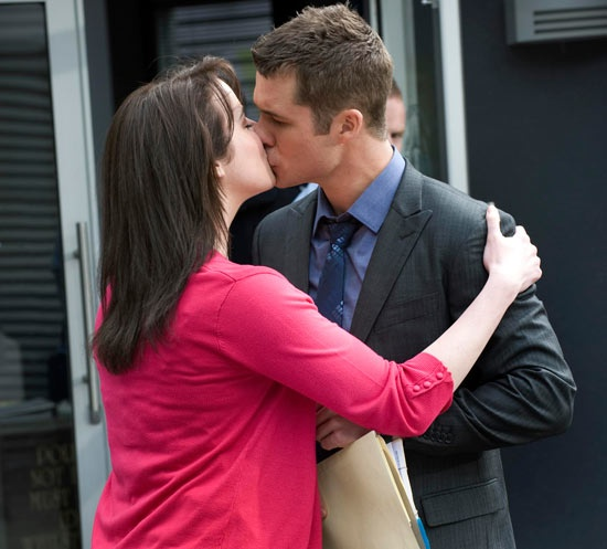 Kate Ramsay and Mark Brennan kiss for the first time