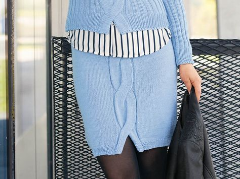 Схема и описание вязания на спицах юбки с «косой» из журнала «Сабрина» №9/2015