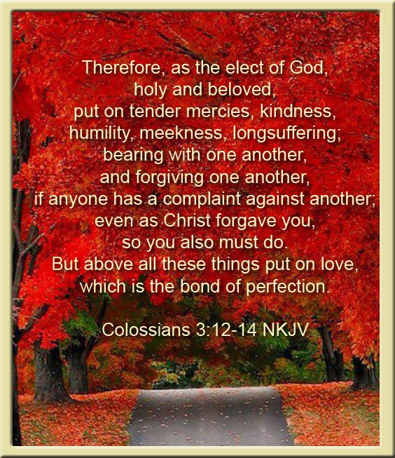 Therefore, as the elect of God, holy and beloved, put on tender mercies, kindness, humility, meekness, longsuffering; bearing with one another, and forgiving one another, if anyone has a complaint against another; even as Christ forgave you, so you also must do. But above all these things put on love, which is the bond of perfection. Colossians 3:12-14 NKJV