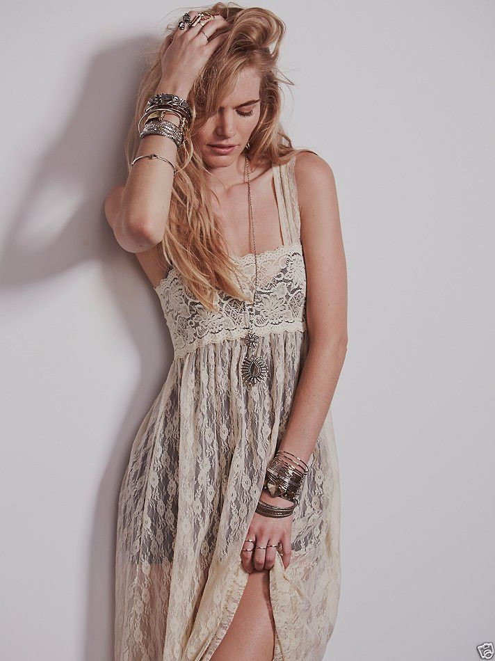 NWT Free People Intimately Romance in The Air Lace Maxi Dress Slip Ivory XS Xsm  #FreePeople #Maxi #Casual