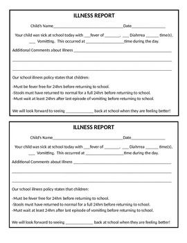 Illness Report (With images) | Daycare forms, Preschool ...