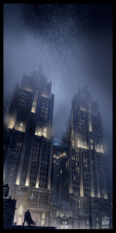 Gotham-gothic, urban nocturn. Batman: Arkham Origins - concept art by Virgile Loth.