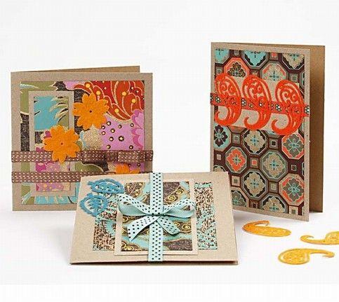 12166 Kaarten met handgemaakt papier en vilten stickers