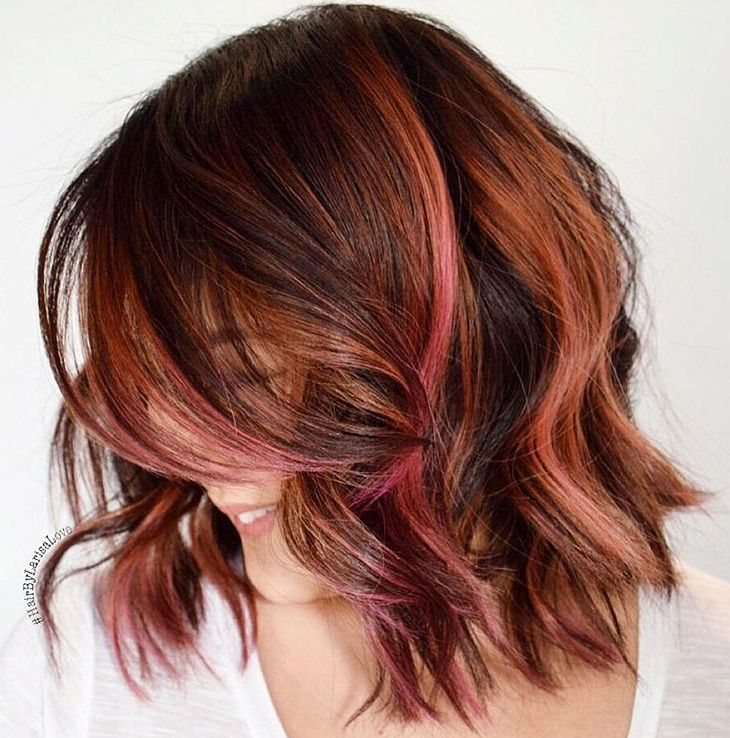Caramel+And+Pink+Highlights+For+Brown+Hair