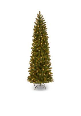 National Tree Company Feel Real Downswept Douglas Fir Pencil Slim Tree With Clear Lights - Green - 78