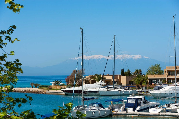 Wonderful view of Sani Marina with Mount Olympus appearing in the background.    Location: Halkidiki, Greece