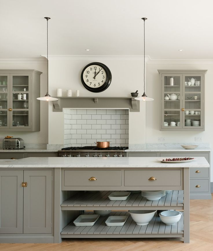 The gorgeous open ended prep table and breakfast bar in the new Queens Park Kitchen by deVOL.
