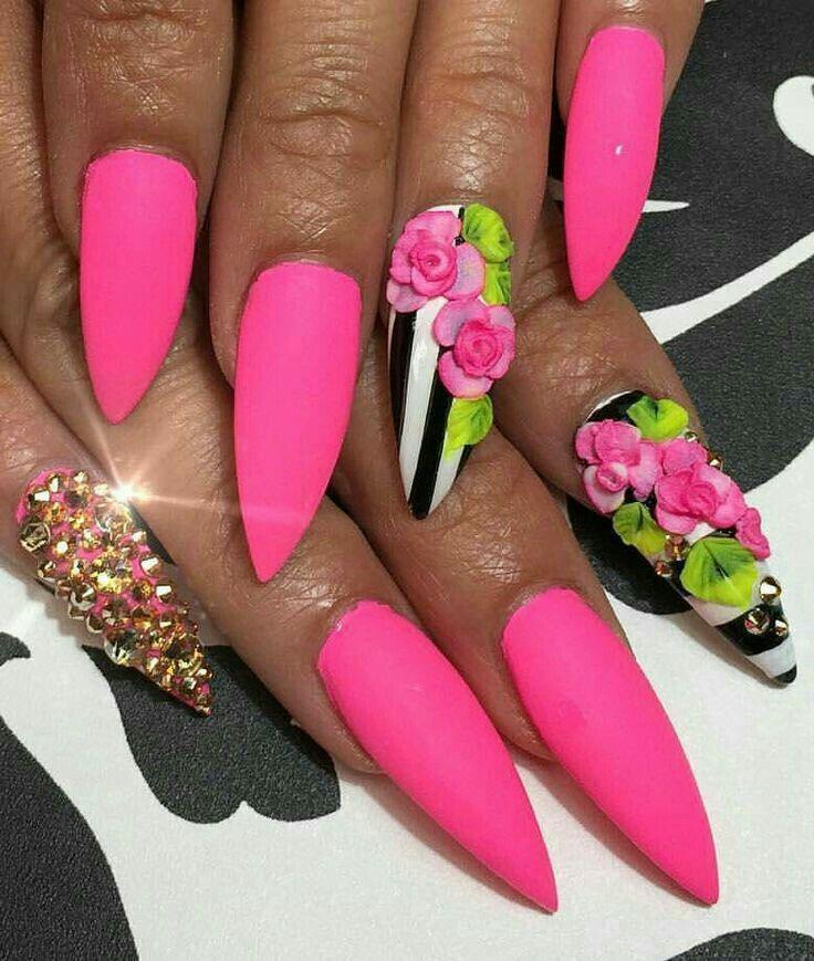 3d + rosa + flores + rayas + blanco + negro + pedrería + mate