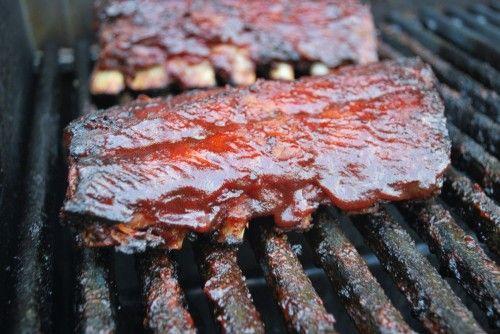 Scott's Birthday dinner hickory smoked pork ribs on gas grill