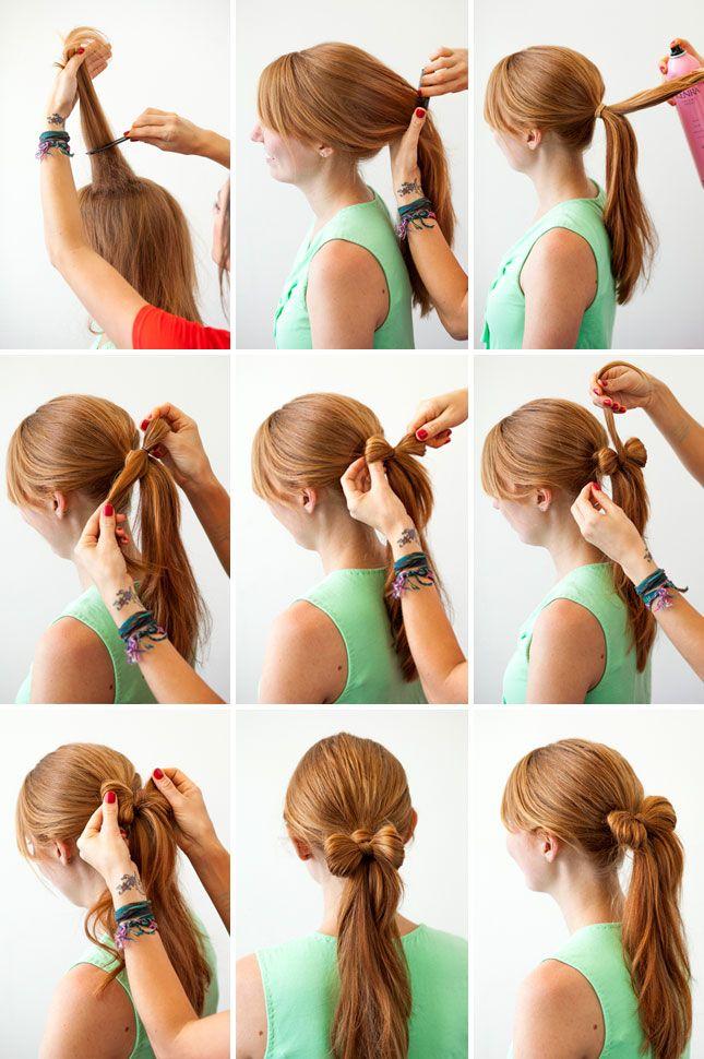 トップの毛に逆毛を立ててボリュームを出す。 後ろで1つにまとめてポニーテールを作る。 そこから毛束を取り、リボンに型どって留める。
