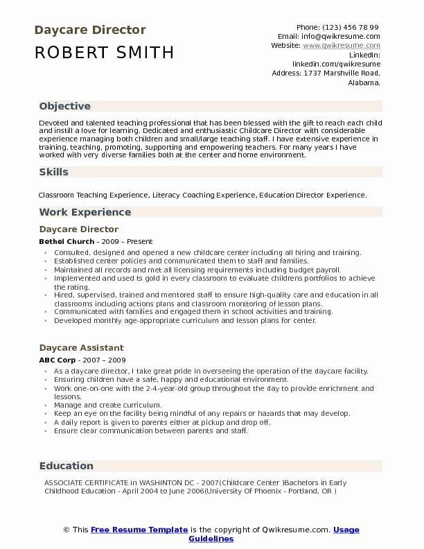 Child Care Resume Duties Lovely Daycare Director Resume Samples In 2020 Childcare Teacher Teacher Resume Childcare
