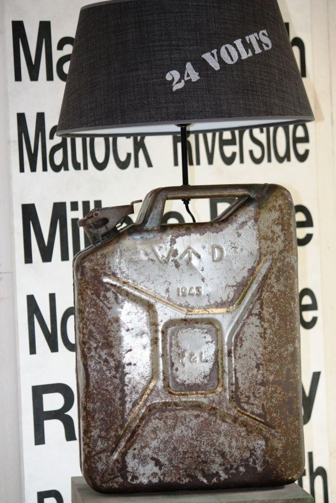 LAMPE  JERRICAN ANCIEN  METAL DECAPE/MEUBLES DE METIER & INDUSTRIELS