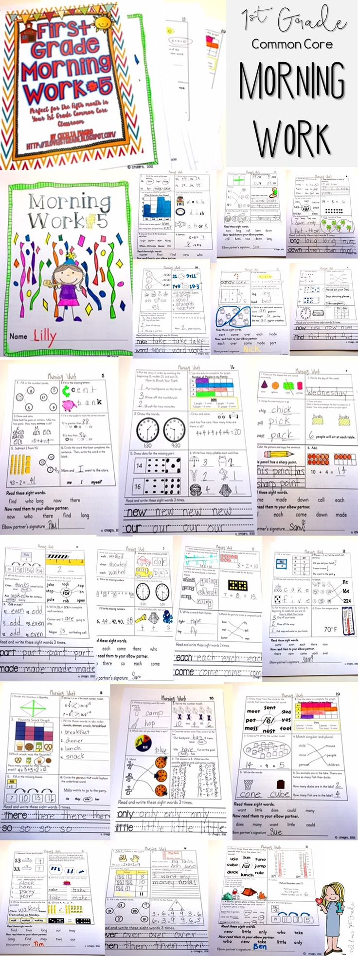 This spiraling math and literacy morning work is designed for the fifth month of first grade. CCSS addressed:   Math - 1. O.A.,1. N.B.T, I.M.D. and 1.G.For  ELA Standards:  1R. F. S. 1, 1R. F. S. 3, and 1R. F. S. 4.