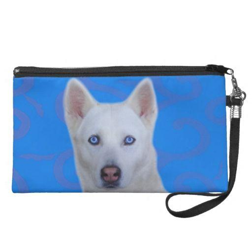 White Siberian Husky Wristlet http://www.zazzle.com/usadesignstore*