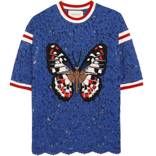 "Gucci's top is appliquéd with an embroidered butterfly – ""the animal and nature symbols Alessandro Michele casts over his collections are modern day totems th…"