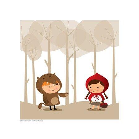 Print Wolf & Little Red Riding Hood por fashionfucsia en Etsy