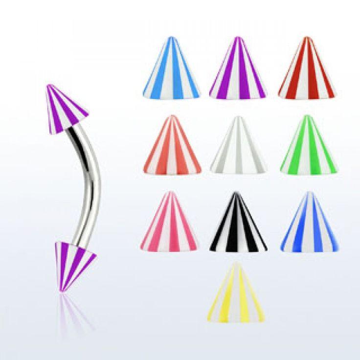 Banana para ceja/frenillo/hélix conos estilo playero en varios colores. Grosor: 1,2 mm. Conos de 3mm. Largo 8mm.UV (brilla en la oscuridad - ultravioleta), 0.99
