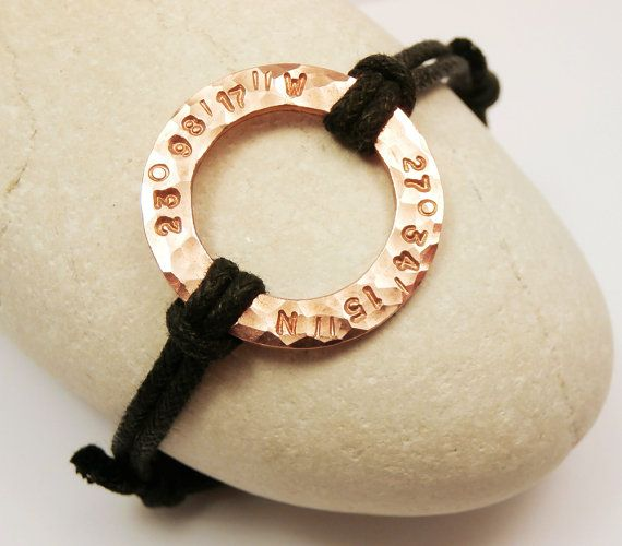 Men/Women Karma Bracelet Personalized Copper Washer, Custom Hand Stamped with Initials Coordinates Names Dates, Anniversary Gift for Her Him on Etsy, $22.00