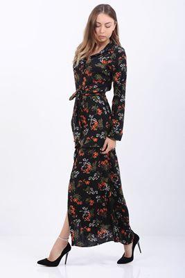 Detayları Göster Turuncu Çiçek Desenli Uzun kol Elbise