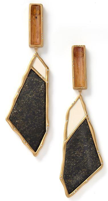 Sut'ana Monique Pean - Woolly, black jade and straw topaz earrings