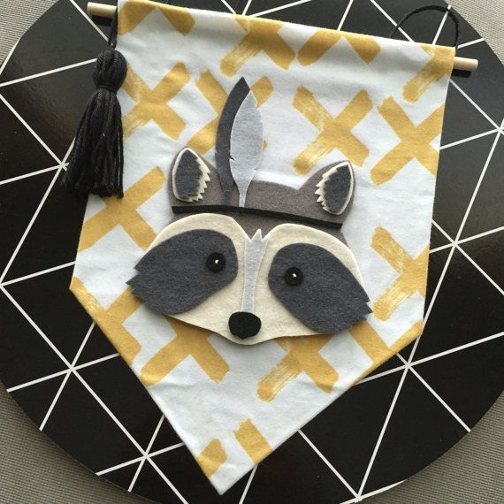 Dash the raccoon wall banner, mustard and white wall flag, crosses, boys room, nursery, tribal, boho, monochrome raccoon