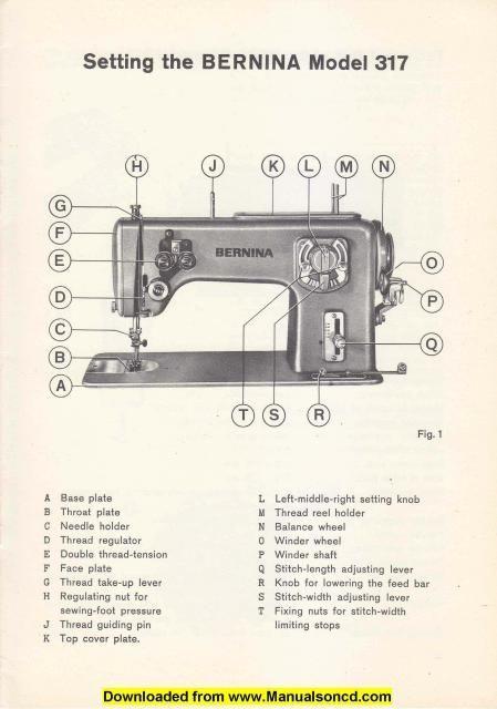 Bernina 317 Sewing Machine Setting Manual. Here are