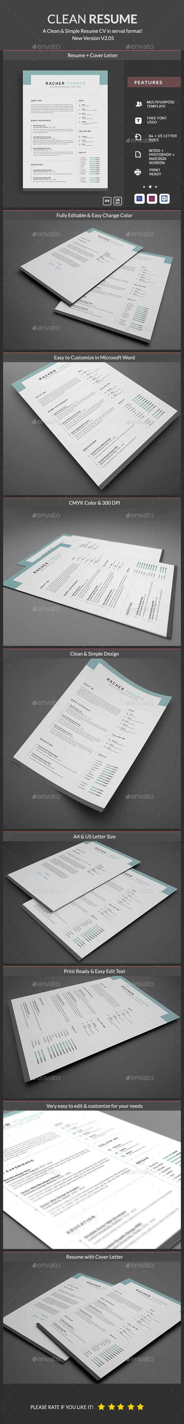 Template For A Resume In Word%0A Buy Resume by ElegantDesign on GraphicRiver  Simple and Clean Resume  Template  A Clean Cover Letter