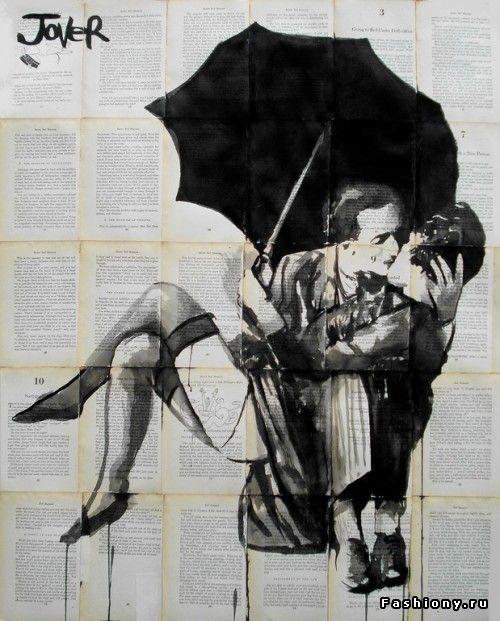Лоуи Джовер - чернилами по страницам книг / loui jover картины на старых страницах