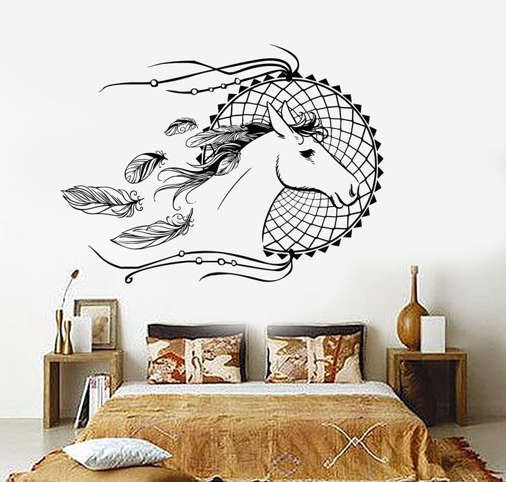 Vinyl Wall Decal Dream Catcher Horse Bedroom Decor Dreamcatcher Stickers  (ig3624)