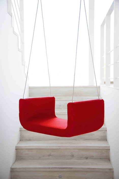 swing over the stairs. . . Surprised my children haven't created this in my home, yet!